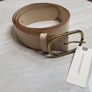 Anthropologie NWT Creme Leather Medium Belt
